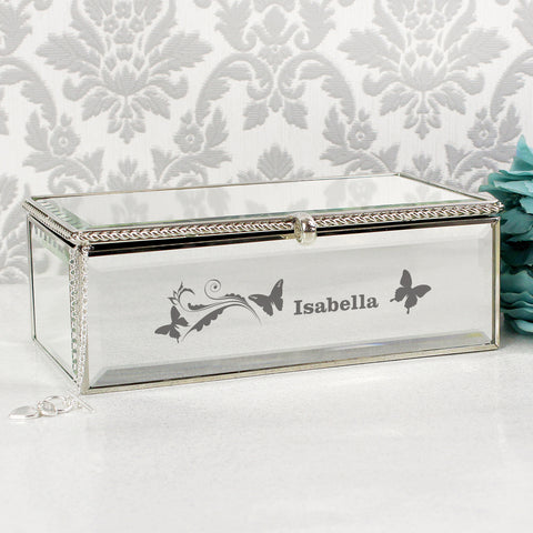 Personalised Butterfly Swirl Mirrored Jewellery Box