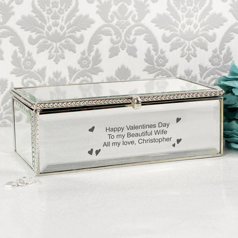 Personalised Hearts Mirrored Jewellery Box Present
