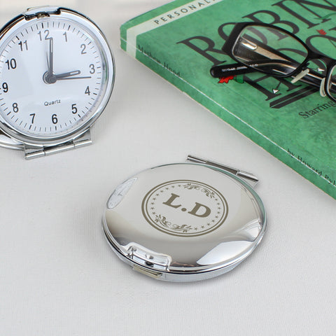 Personalised Mongogram Round Travel Clock Gift