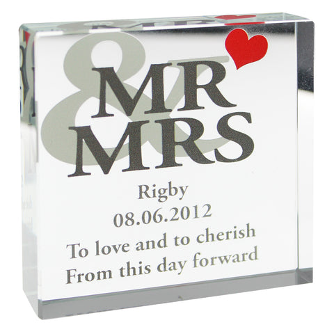 Personalised Mr and Mrs Large Crystal Block Gift