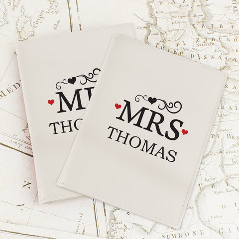 Personalised Mr and Mrs Passport Covers Cream