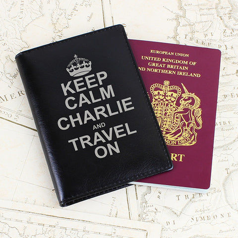 Personalised Keep Calm Passport Holder Black