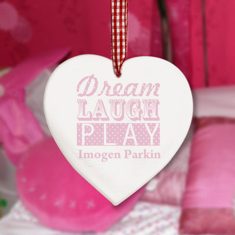 Personalised Dream Pink Wooden Heart Decoration Present