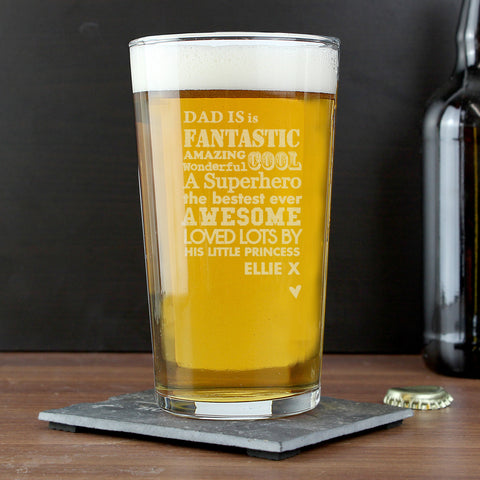 Personalised Pint Glass He Is
