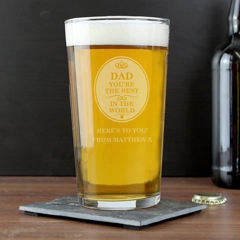 Personalised The Best in The World Pint Glass Gift