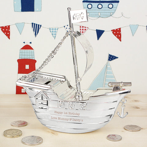 Personalised Pirate Ship Money Box Present