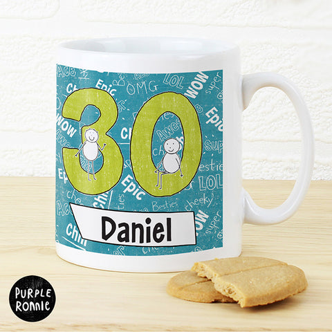 Personalised Purple Ronnie Age Mug Blue