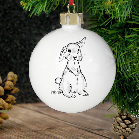 Personalised Bunny Christmas Bauble Gift