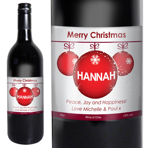Personalised Red Wine Bauble Label