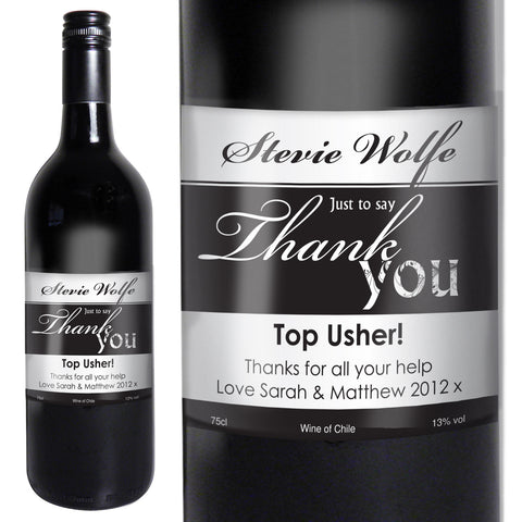 Personalised Red Wine Thank You Label Gift