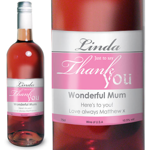 Personalised Rose Wine Thank You Label Gift