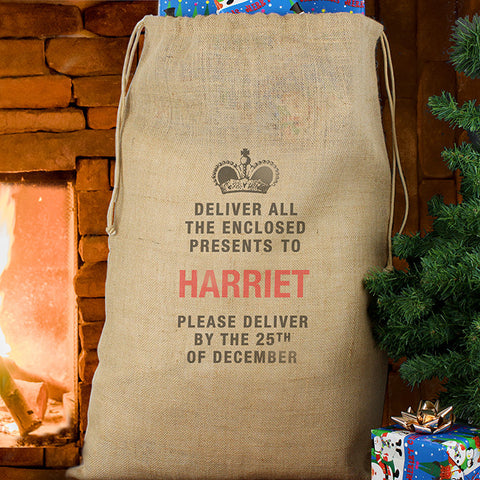 Personalised Santa Sack Hessian