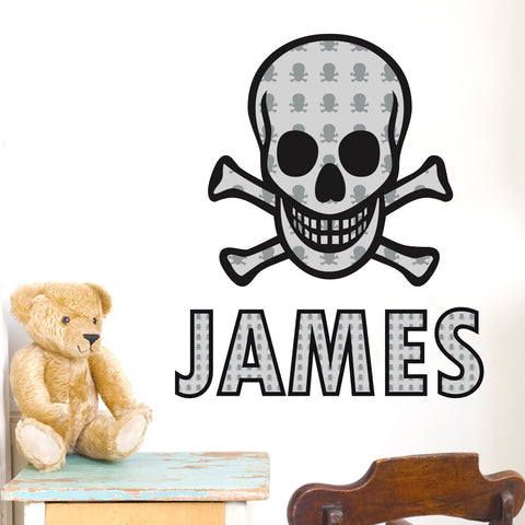 Personalised Skull and Cross Bones Wall Art Gift