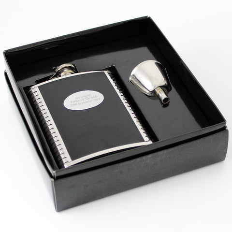 Personalised Steel and Black Leather Hip Flask Gift
