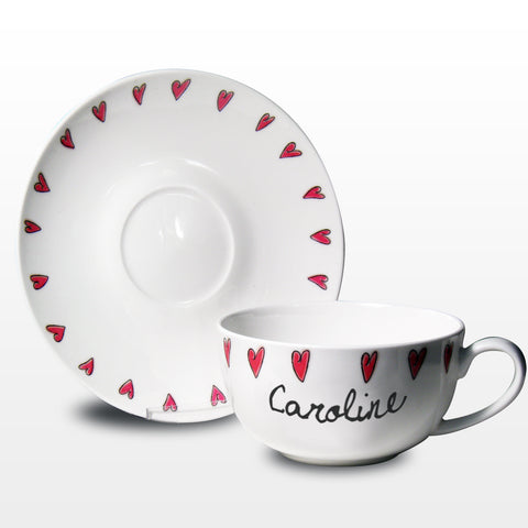 Personalised Hearts Teacup and Saucer Gift
