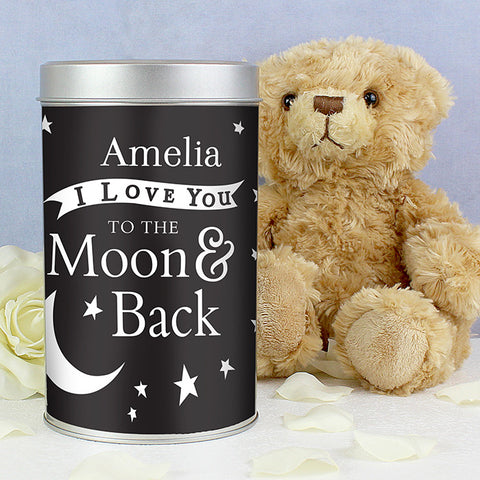 Personalised Teddy Bear in a Tin To the Moon and Back