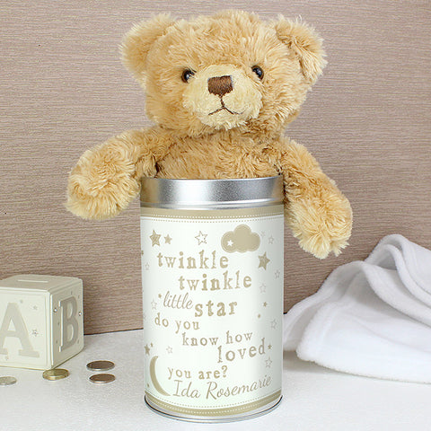 Personalised Teddy Bear in a Tin Present