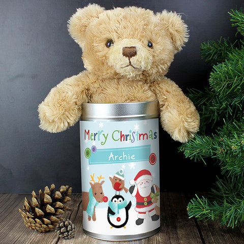 Personalised Teddy Bear in a Tin Santa and Friends