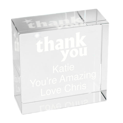 Personalised Thank you Medium Crystal Token Gift