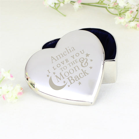 Personalised To the Moon and Back Heart Trinket Present