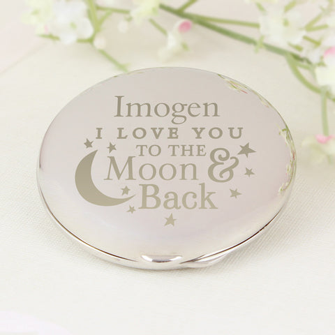 Personalised To the Moon and Back Round Compact Mirror