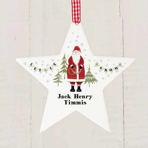 Personalised Vintage Father Christmas Star Tree Decoration