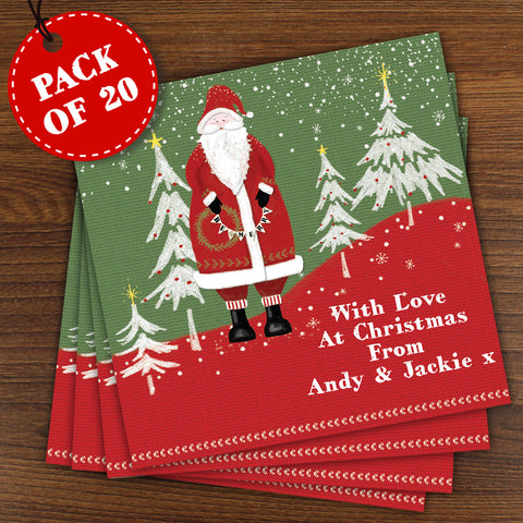 Personalised Vintage Father Christmas Cards 20 Pack