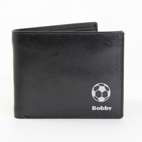 Personalised Black Football Wallet Gift