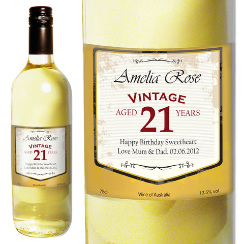 Personalised Vintage Age White Wine Gift