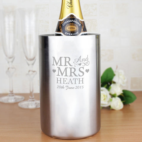 Personalised Mr and Mrs Stainless Steel Wine Cooler Gift