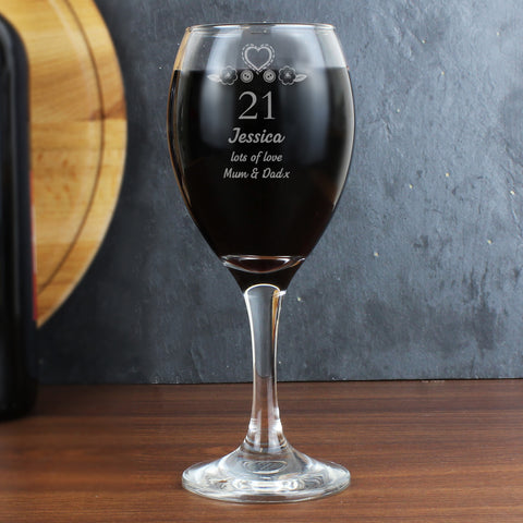 Personalised Birthday Age Wine Glass