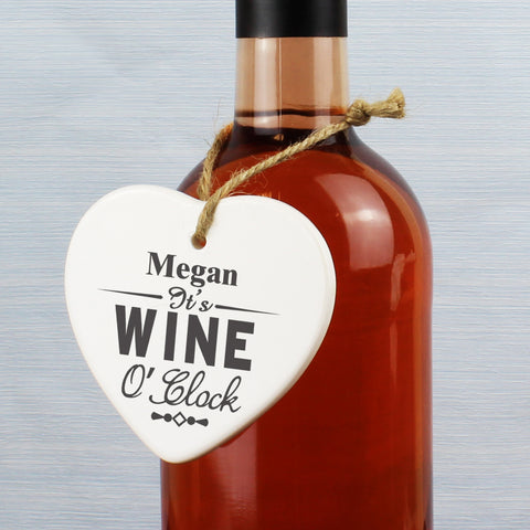 Personalised Wine O'Clock Ceramic Heart Present