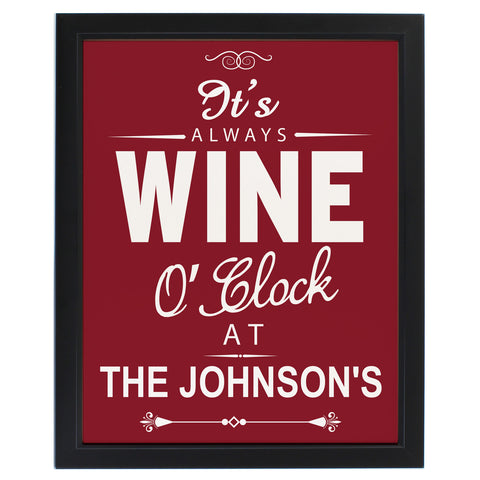 Personalised Wine O' Clock Framed Print Present