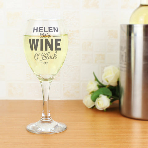 Personalised Wine O' Clock Wine Glass