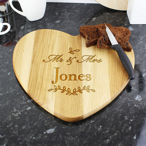 Personalised Heart Mr & Mrs Wooden Chopping Board