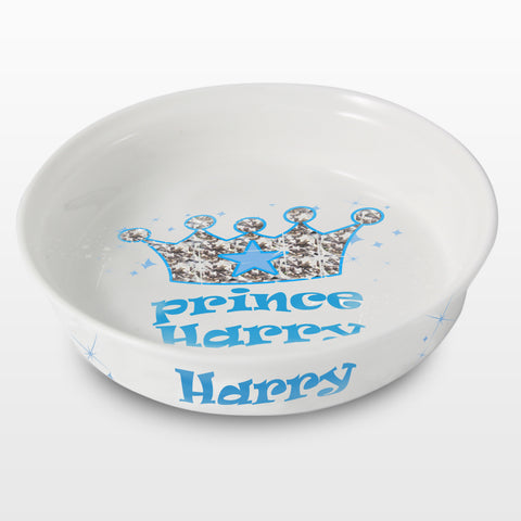 Personalised Bling Prince Pet Bowl Gift