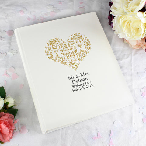 Personalised Gold Damask Heart Traditional Album Gift
