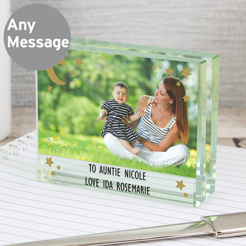 Personalised Moon and Back Glass Photo Block