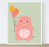 Cute Pig with Balloons Printable