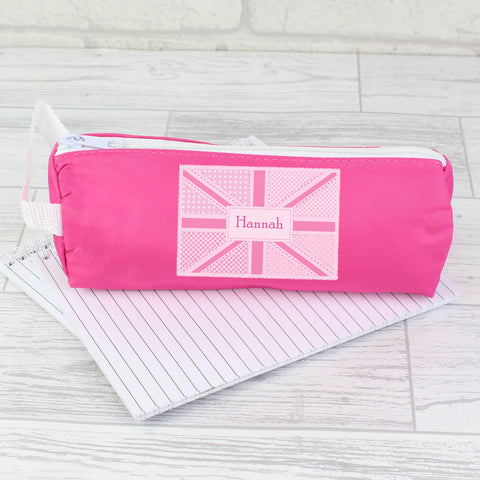 Personalised Pink Patchwork Union Jack Pencil Case Present