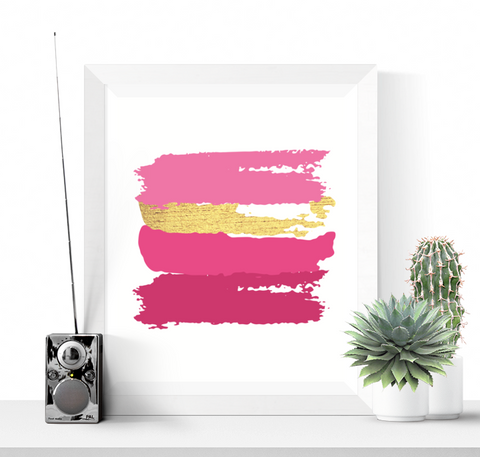 Brushstrokes Abstract Art Printable Pink and Gold