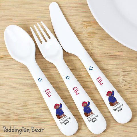 Personalised Paddington Bear Plastic Cutlery Set