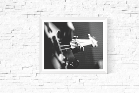 Bass Guitar Photograph Printable Black and White