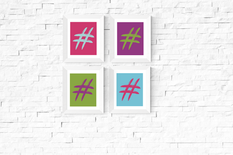 Pop Art Hastag Printables Set of 4
