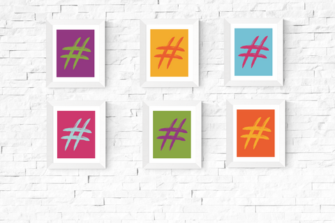 Pop Art Hastag Printables Set of 6
