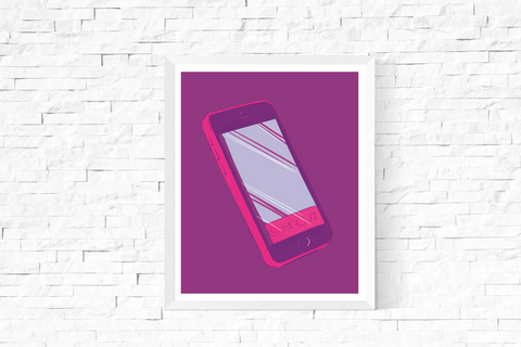 Pop Art Smart Phone Printable Purple