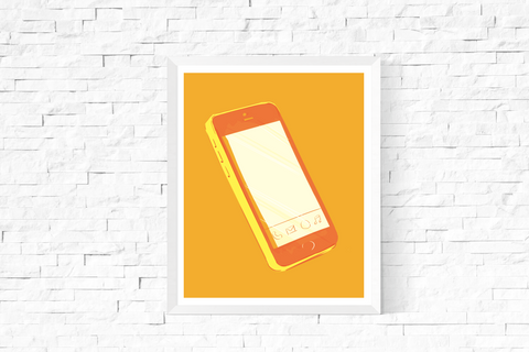 Pop Art Smart Phone Printable Yellow