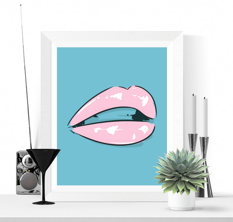 Pop Art Lips Printable Blue