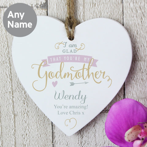 Personalised I Am Glad Godmother Heart Decoration