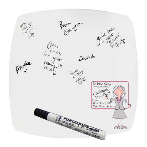 Personalised Whiteboard Teachers Message Plate Pink